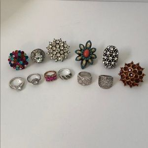 Jewelry - 12 Rings different sizes but most are adjustable